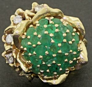 Vintage heavy jumbo 14K gold 4.35CT diamond/emerald cluster flower cocktail ring
