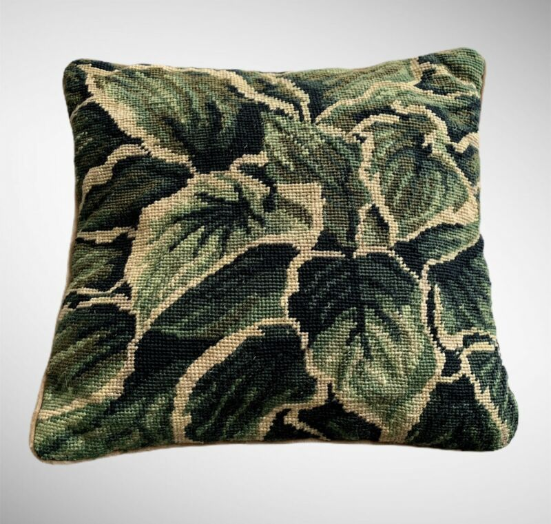 Needlepoint Vintage Anthurium Leaves Pillow And Pillow Case