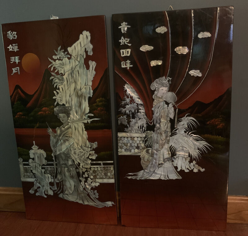 Set Of 2 Vintage Inlaid Mother of Pearl Geisha on Red & Black Laquer Wood Panels