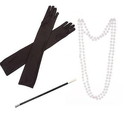 LADIES FLAPPER SET BLACK GLOVES CIG HOLDER PEARLS CHARLESTON 1920S FANCY DRESS  - Flapper Gloves Black