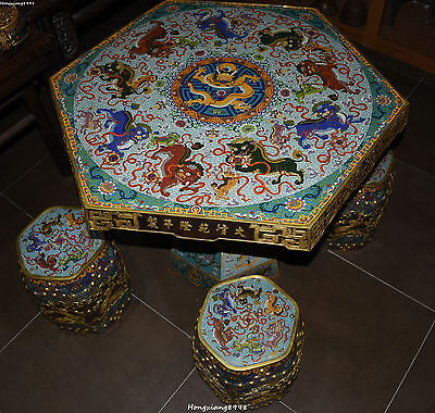 "33""Dynasty Cloisonne Enamel 24K Gold Gilt Dragon Lion Ball  Desk Table Chair Set"