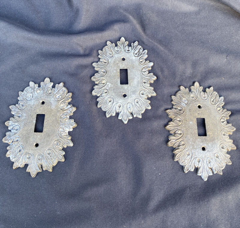 3 Decorative Metal Oval Switch Plate Cover Brass  Electric