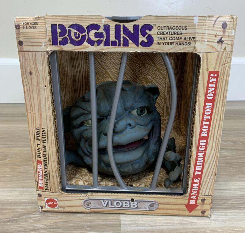VLOBB, 1987 Boglins Hand Puppet, Original Box -Blue Monster Vintage
