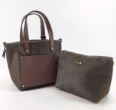 Innue Italian Pink Soft Leather Womens Tote Metal Reversible Handbag & Purse