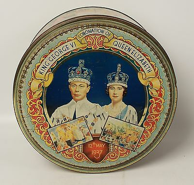 1937 Coronation Commemorative Tin George VI Queen Elizabeth Large Dented Tin