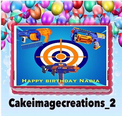 Nerf Gun Birthday party edible Target cake topper image 1/4 frosting sheet](Target Birthday Cakes)