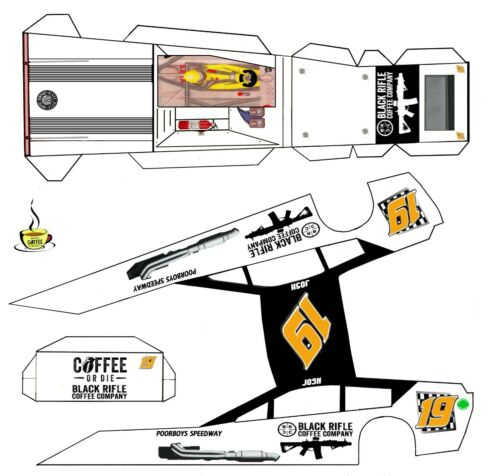 "#19 Josh Black Rifke Coffee  Asphalt Modified Laminated Body Slot Car 4"" 1/24th"