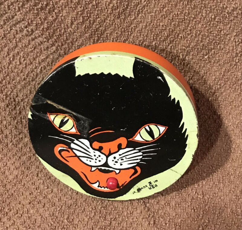 Vintage Halloween Black Cat Tin Noisemaker by T. Cohn USA 1940