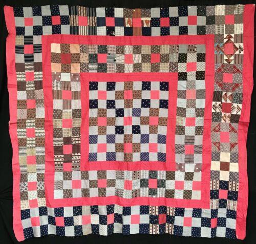 Antique 1875 Nine Patch Variation Quilt Top