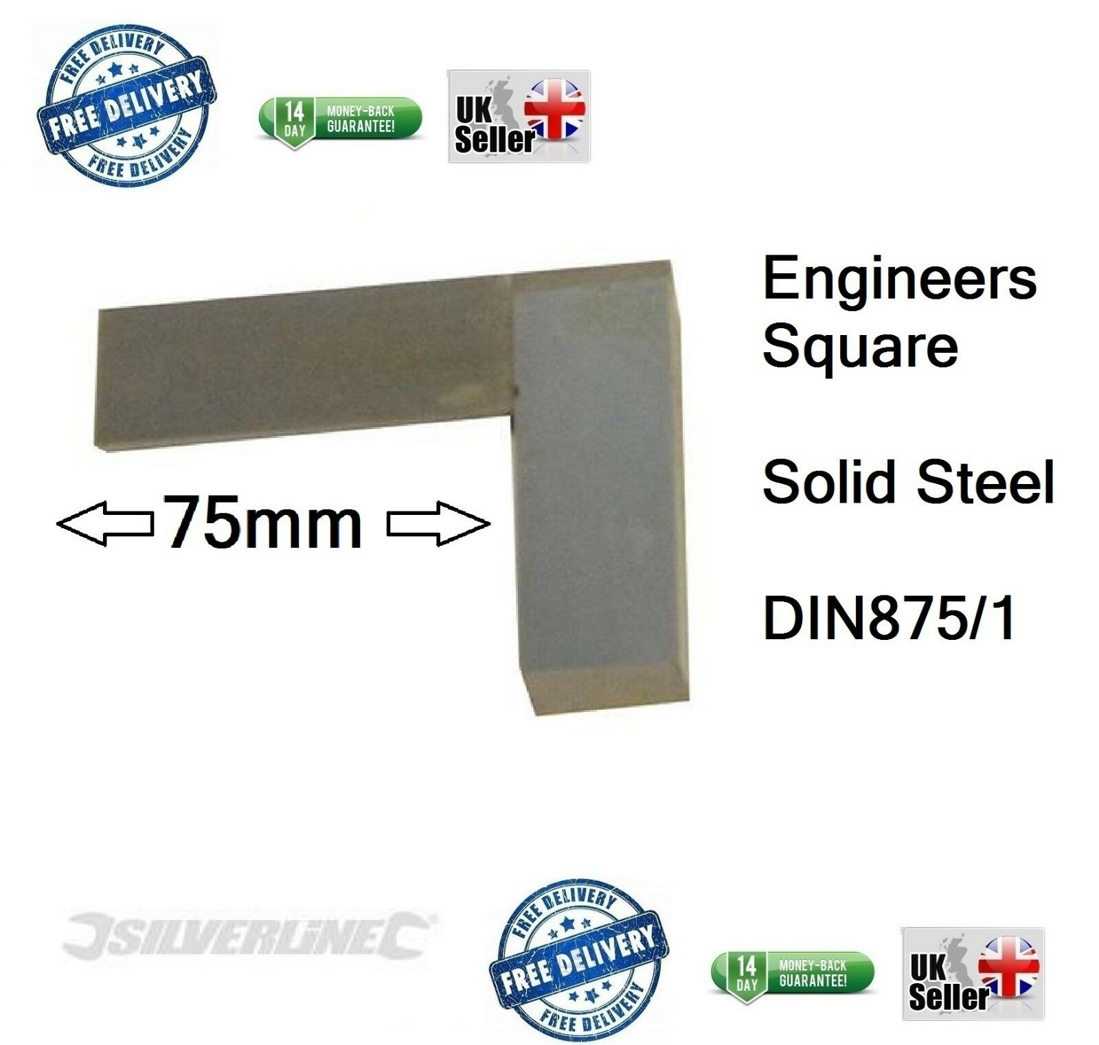 Engineers Square, Set, Metal, Steel, Precision, approx 75mm 2