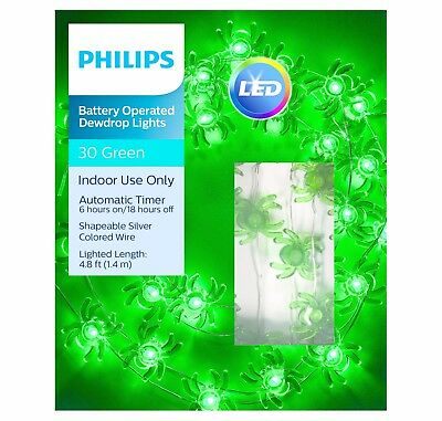 Philips 30ct Halloween Battery Operated LED Spider Dewdrop Lights - Green