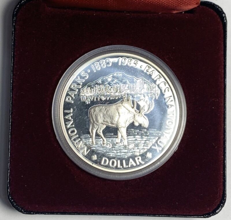 1985 Canada Silver 1$ Dollar National Parks Proof Coin W/ Box & COA