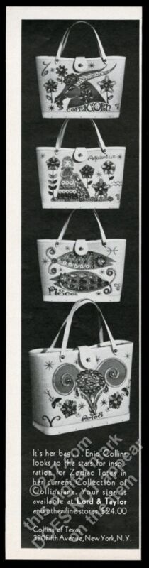 1969 Enid Collins Aries Pisces Aquarius Capricorn bag purse photo print ad