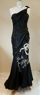 John Galliano Vintage black Silk Embroidery & Lace Evening Gown Size UK 12  for sale  Shipping to Ireland