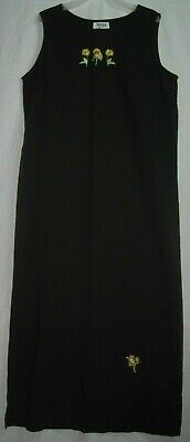 Teddi Size Medium Vintage Long Black Sleeveless Maxi Dress W/Embroidered Flowers Embroidered Black Teddy