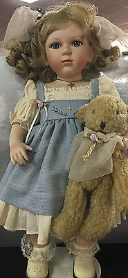 """Porcelain Doll from France with Teddy Bear - Large 19"""" with stand"""