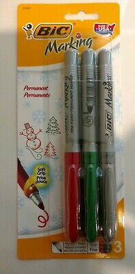 Discontinued 3 Pack Bic Marking Permanent Marker Pens Red Green Metallic Silver