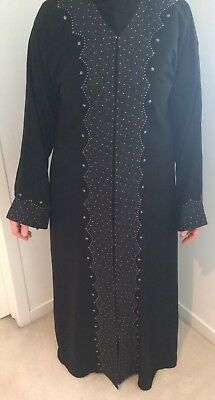 Womens Black Embellished Beaded Long Kaftan Abaya Galabiya