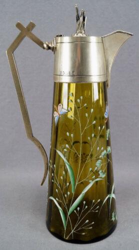 Birmingham England HS&S Enameled Floral Dragonfly Green Glass & Silverplate Ewer