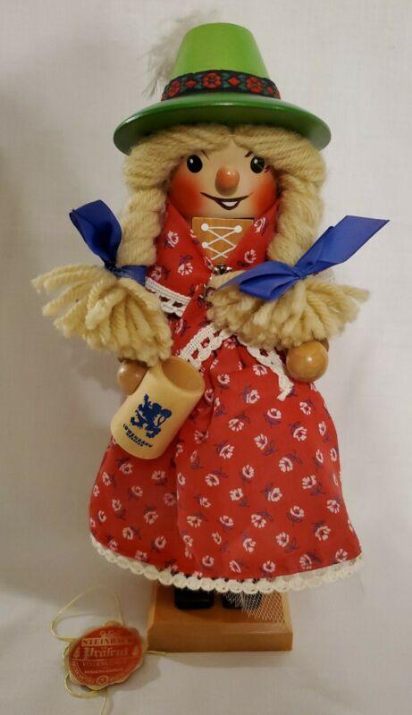 STEINBACH LOWENBRAU BEER STEIN GIRL NUT CRACKER IN BOX GERMANY VINTAGE