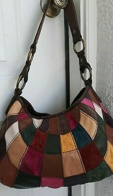 Lucky Brand Multi-Color Patchwork Suede Leather Hobo Shoulder HandBag -