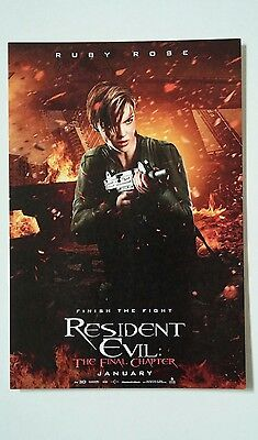 Resident Evil Final Chapter Ruby Rose With Gun Movie 4X6 Postcard Small Poster
