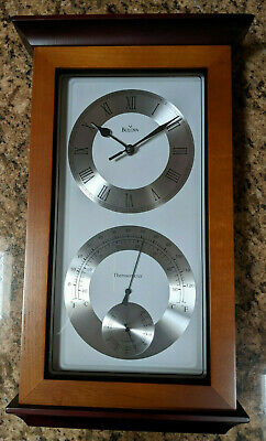 Bulova Yarmouth Maritime Wall Clock Weather Station Thermometer Hygrometer C3760