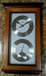 Bulova Yarmouth Maritime Wall Clock Weather Station Thermometer Hygrometer C3760