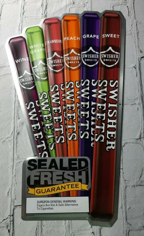 Vintage Swisher Sweets Variety Spray Sealed Fresh Tobacco Rilo Man Cave Tin Sign