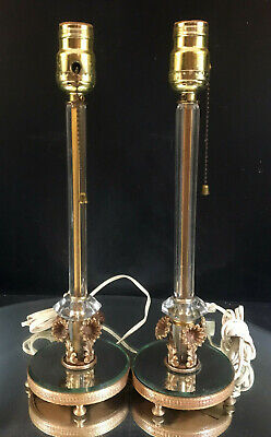 FRENCH STYLE BOUDOIR LAMPS--LOVELY  FLORAL MIRRORED BASE--GLASS STEM--BUY IT NOW Buy Mirrored Glass