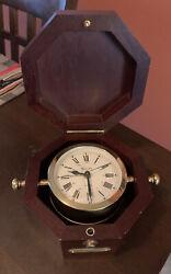 Bulova Wooden Case Maritime Alarm Quartermaster Desk Clock Quartz Made Germany