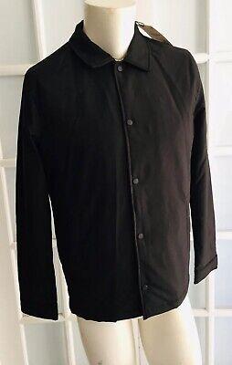 NWT ZARA MAN Black COACH JACKET Padded Shirt Collar Long Sleeve Size S  O1625