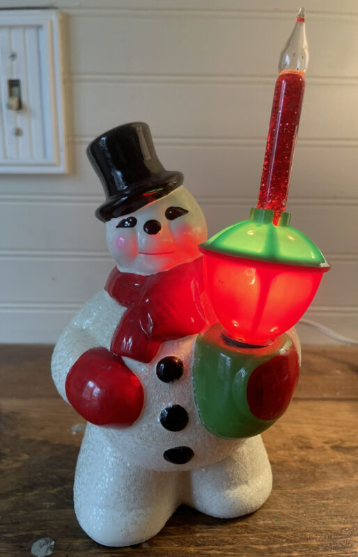 Rare Vintage Ceramic Snowman In Tophat + Bubble Light Plug In Christmas 1940's