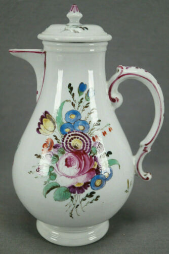 18th Century Doccia Italian Hand Painted Floral Porcelain Small Coffee Pot