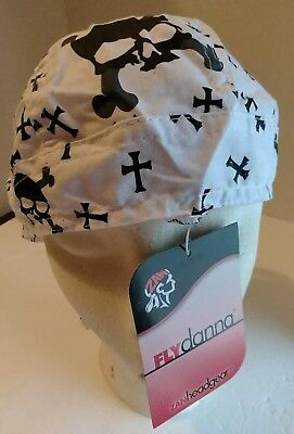 FLYDANNA SKULL Cap Cool Tie Fitted Biker Motorcycle Durag Head Wrap Do Du -