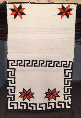 30's NAVAJO DOUBLE SADDLE BLANKET Rug 31x49 Textile Weaving Native American