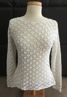 Vintage Crocheted  Sweater 1960s Cream Crochet Pullover  S-M