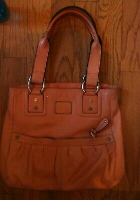 B. Makowsky Glove Brown Pebbled Leather Large Shoulder Handbag Purse pre-owned