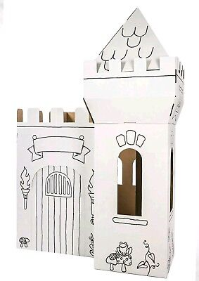🌟🏰NEW BOX CREATIONS MEDIEVAL CASTLE CARDBOARD COLORING PLAY HOUSE