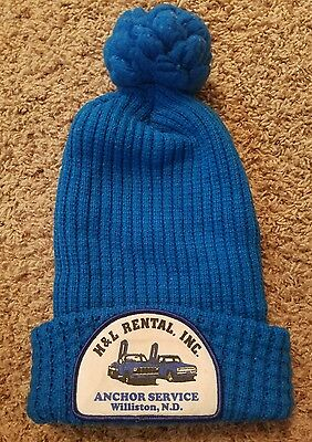 Vintage Industrial Advertising Knit Stocking Hat Williston North Dakota