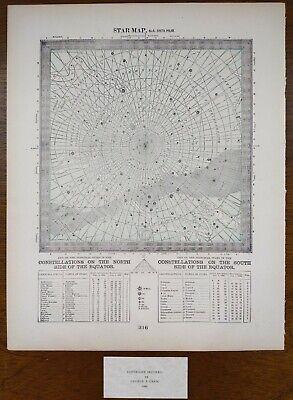 Vintage 1900 STAR MAP #6 SOUTH POLAR ~ Old Antique Original CONSTELLATIONS