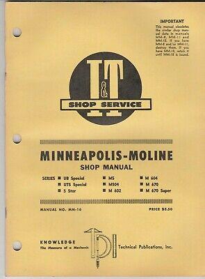 Minneapolis Moline It Tractor Manual Mm-16 Series Ub Uts 5 Star M5 M504 M602 M6