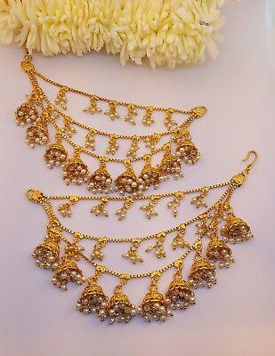 UK SELLER Indian Handmade Pearl Light Sahara Kaan Chain For Heavy earrings