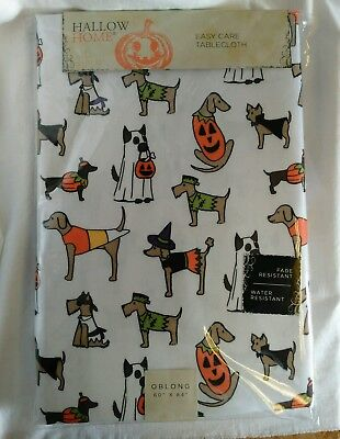 Hallow Home Halloween Tablecloth Dogs & Puppies In Costumes Oblong 60 × 84 NEW!