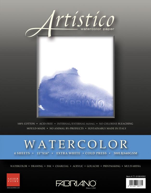 """Fabriano Artistico 300 lb. Cold Press 4 Sheets 11x14"""" - Extra White"""