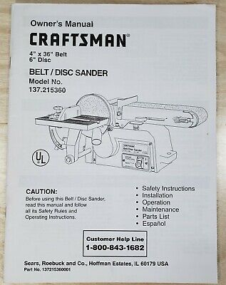 Craftsman 137.215360 Belt & Disc Sander Instruction Manual