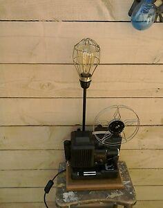 vintage retro lampe faite de vieux projecteur de cin ma ebay. Black Bedroom Furniture Sets. Home Design Ideas