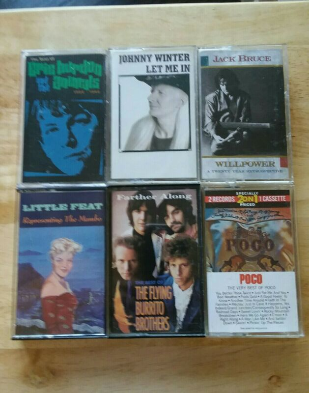 Rock 6-Cassette Lot -Jack Bruce,Little Feat,Johnny Winter,The Animals,Poco Etc