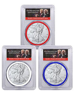 2017 Silver Eagle 3 Coin Set Pcgs Ms70 Fs Rwb Trump   Pence Label Sku45780
