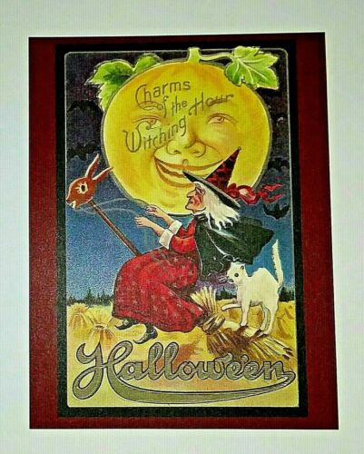 *UNUSED* Halloween Postcard: Charms Of The Witch Vintage Image~Reproduction